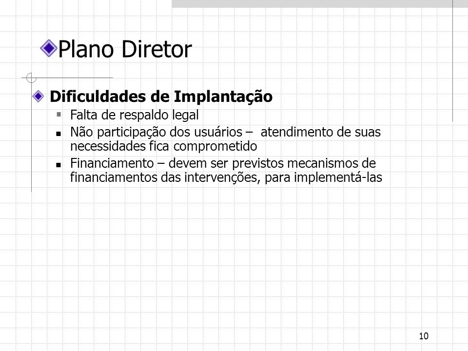 Plano Diretor Dificuldades de Implantação Falta de respaldo legal