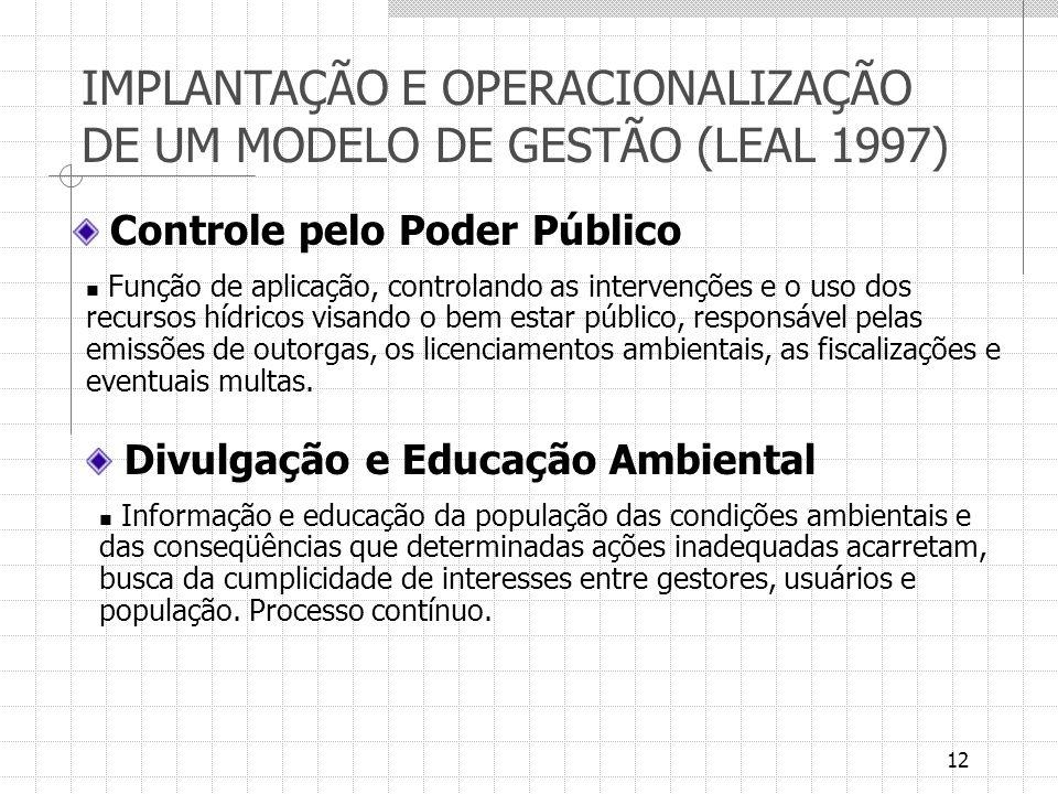 IMPLANTAÇÃO E OPERACIONALIZAÇÃO DE UM MODELO DE GESTÃO (LEAL 1997)