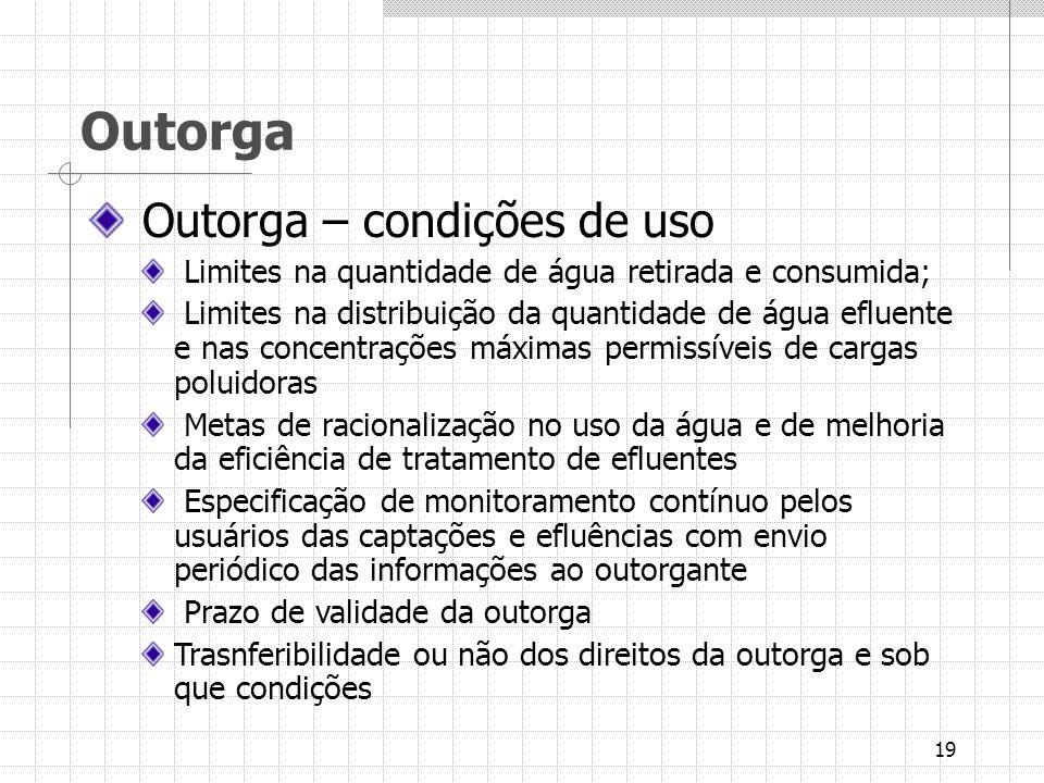 Outorga Outorga – condições de uso
