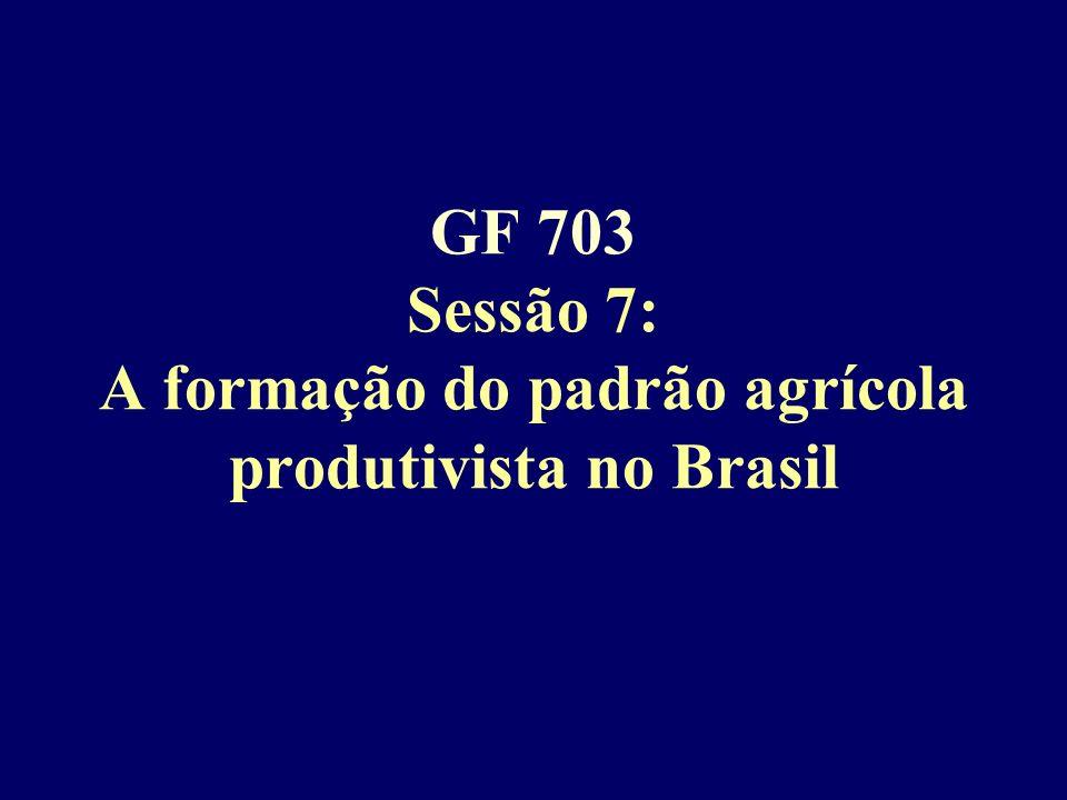 GF 703 Sessão 7: A formação do padrão agrícola produtivista no Brasil