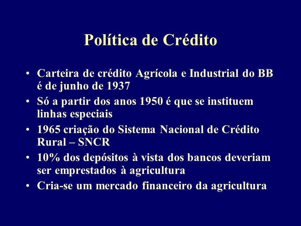 Política de Crédito Carteira de crédito Agrícola e Industrial do BB é de junho de 1937.