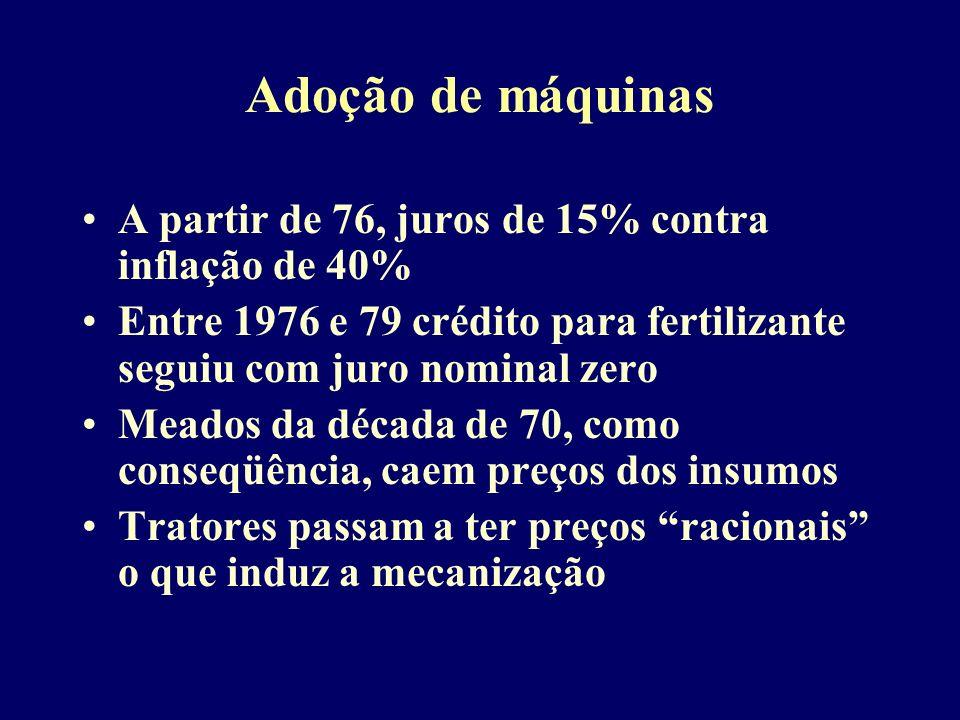 Adoção de máquinas A partir de 76, juros de 15% contra inflação de 40%