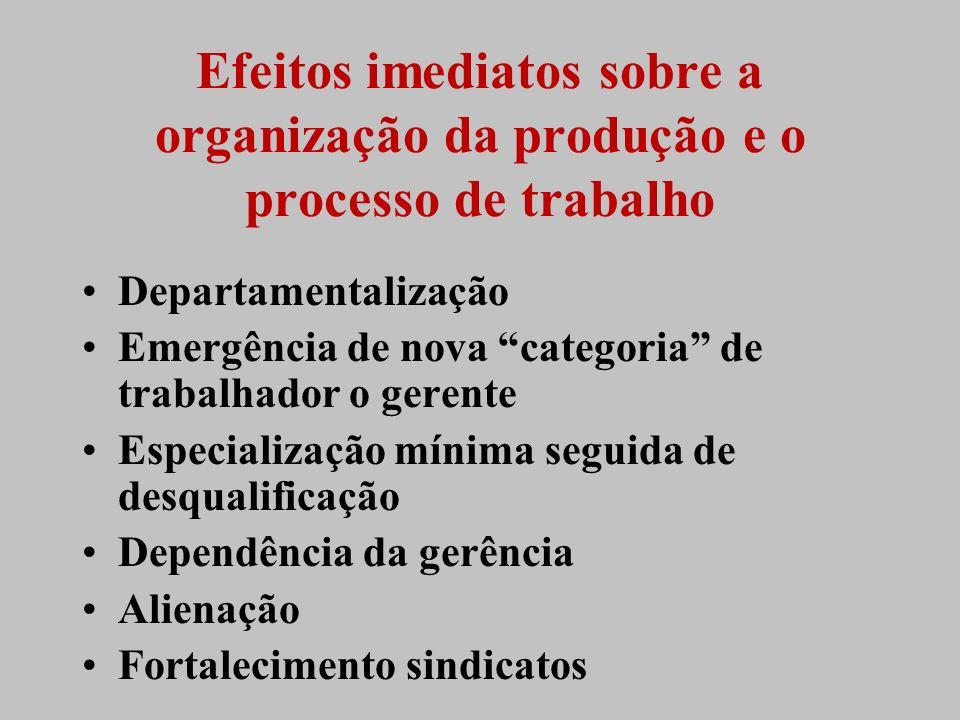 Efeitos imediatos sobre a organização da produção e o processo de trabalho