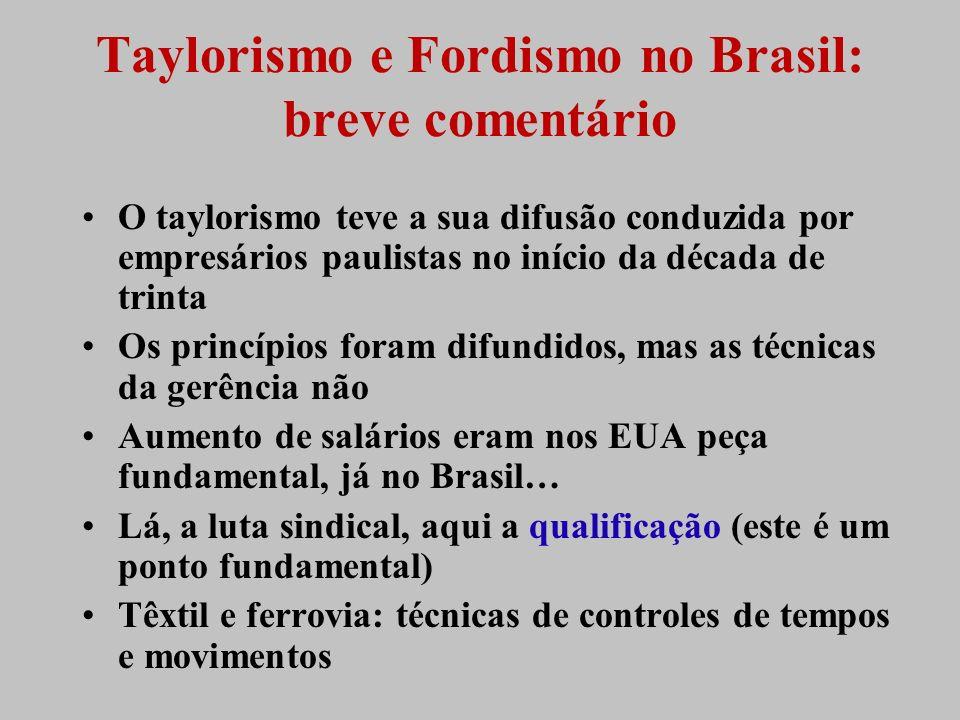 Taylorismo e Fordismo no Brasil: breve comentário