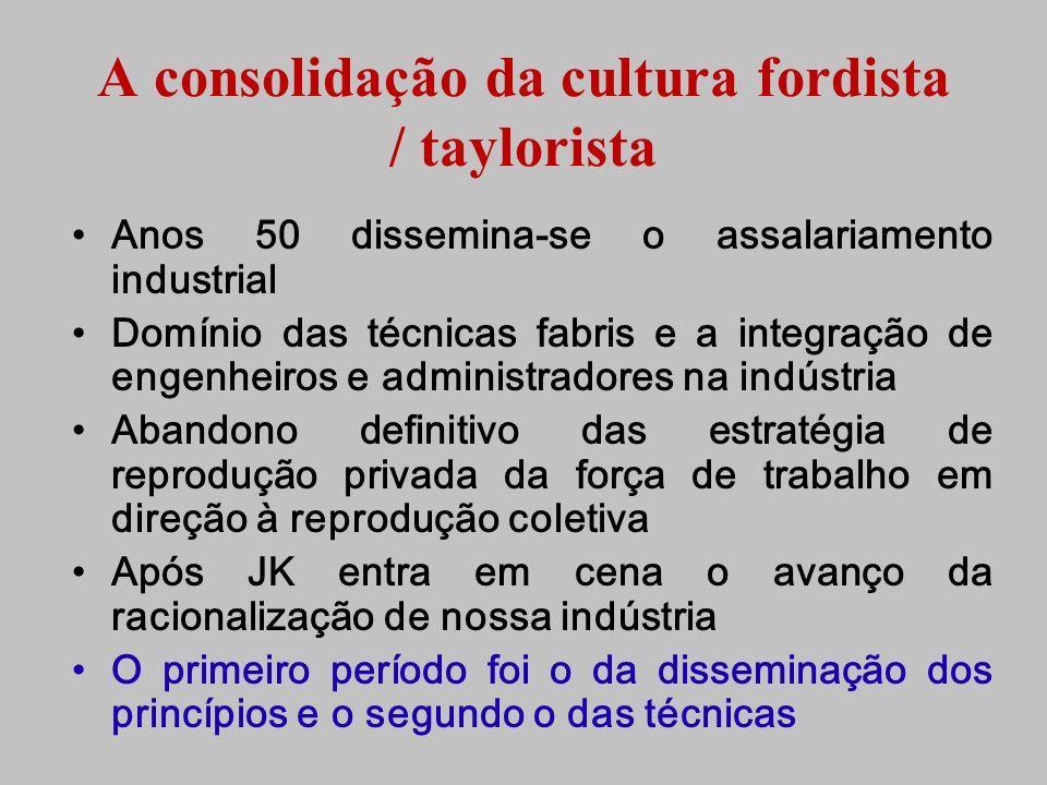 A consolidação da cultura fordista / taylorista