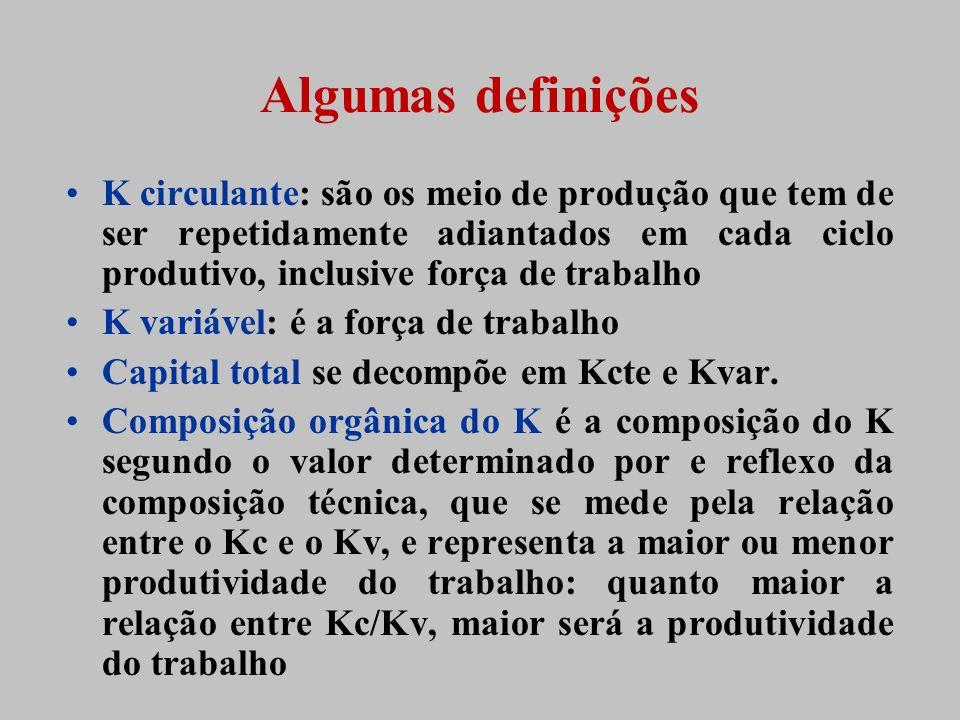 Algumas definições K circulante: são os meio de produção que tem de ser repetidamente adiantados em cada ciclo produtivo, inclusive força de trabalho.