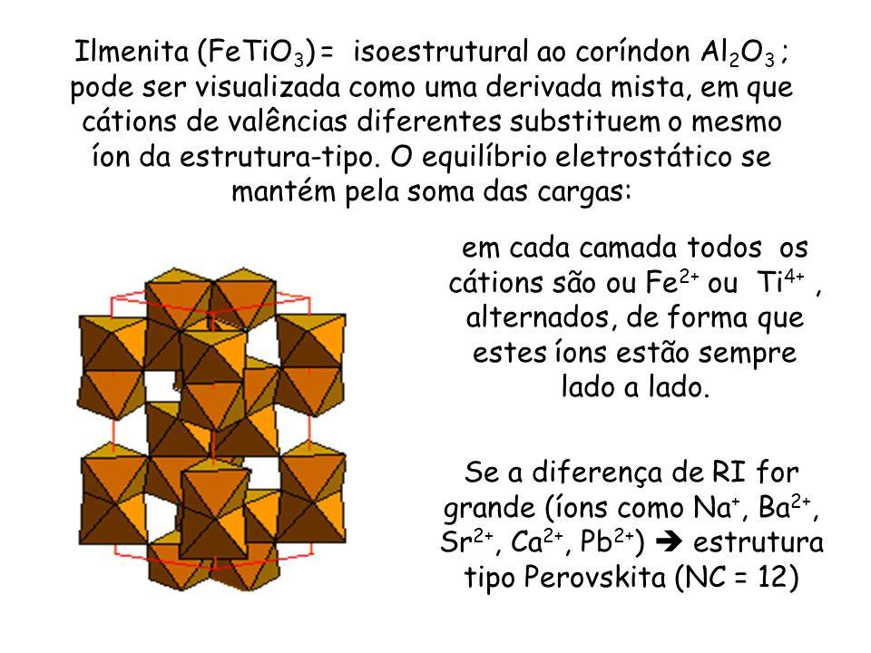 Ilmenita (FeTiO3) = isoestrutural ao coríndon Al2O3 ; pode ser visualizada como uma derivada mista, em que cátions de valências diferentes substituem o mesmo íon da estrutura-tipo. O equilíbrio eletrostático se mantém pela soma das cargas: