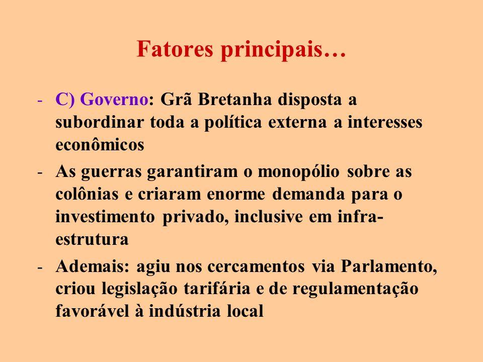Fatores principais… C) Governo: Grã Bretanha disposta a subordinar toda a política externa a interesses econômicos.
