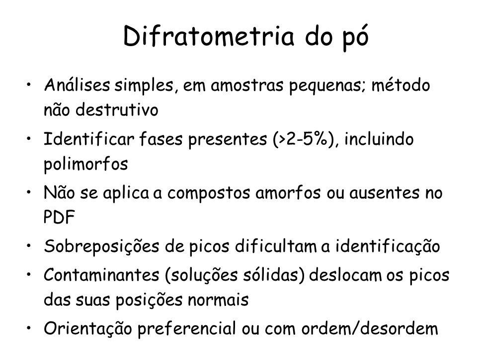 Difratometria do pó Análises simples, em amostras pequenas; método não destrutivo. Identificar fases presentes (>2-5%), incluindo polimorfos.