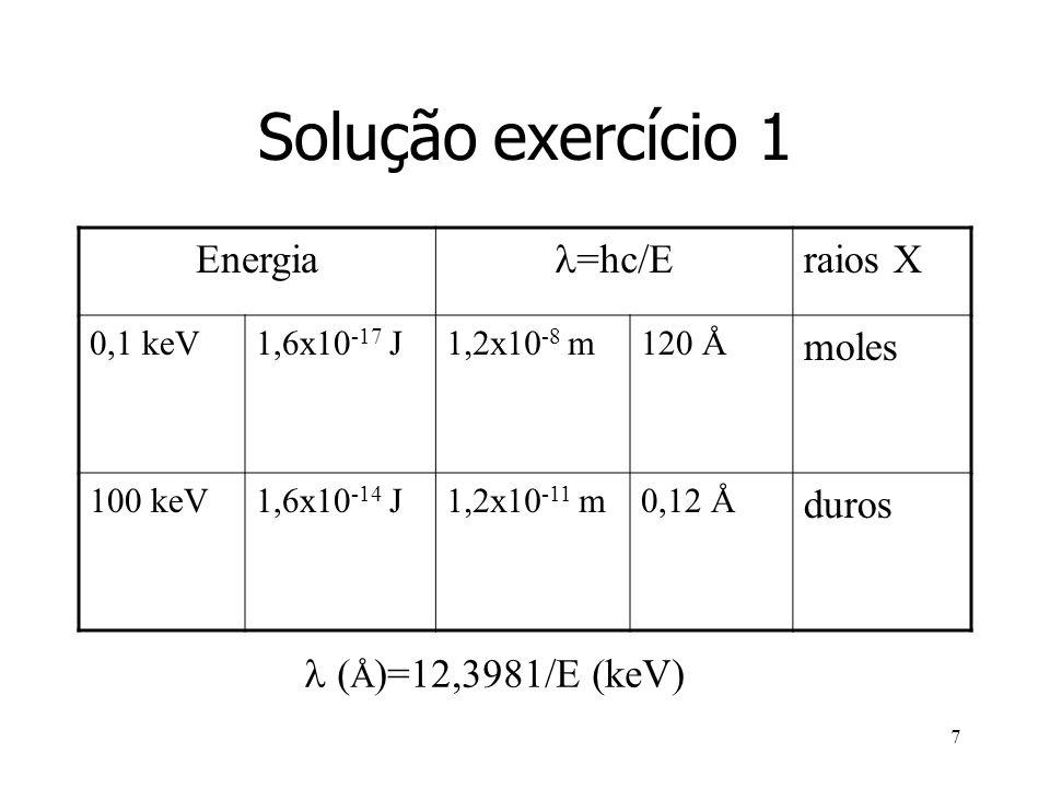 Solução exercício 1 Energia =hc/E raios X moles duros
