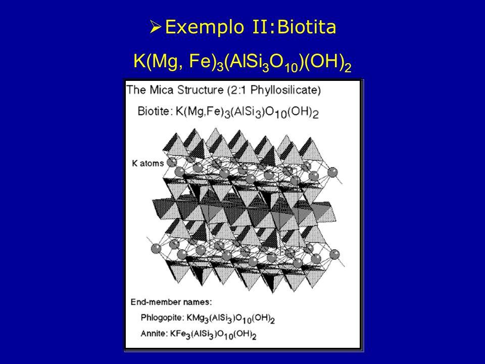 Exemplo II:Biotita K(Mg, Fe)3(AlSi3O10)(OH)2