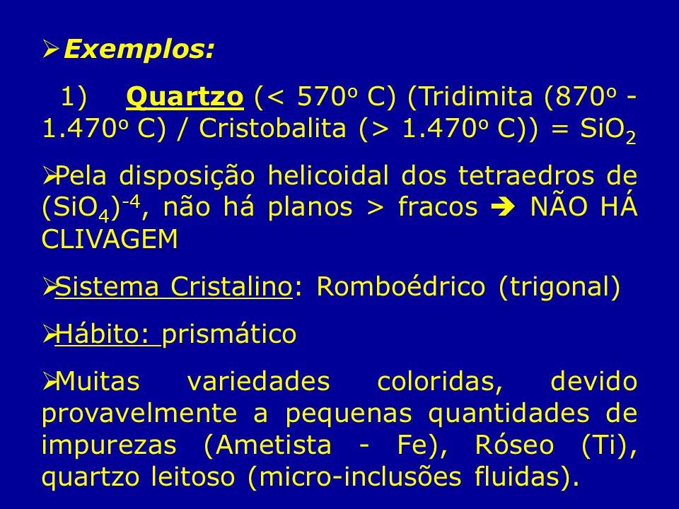 Exemplos: 1) Quartzo (< 570o C) (Tridimita (870o - 1.470o C) / Cristobalita (> 1.470o C)) = SiO2.