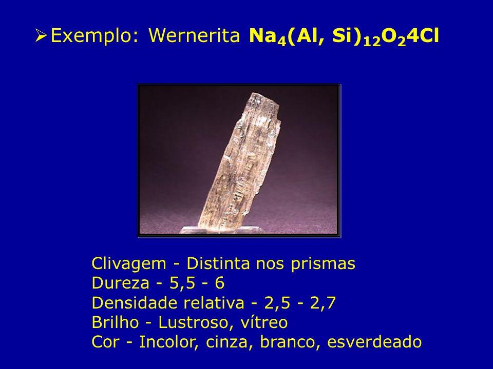 Exemplo: Wernerita Na4(Al, Si)12O24Cl