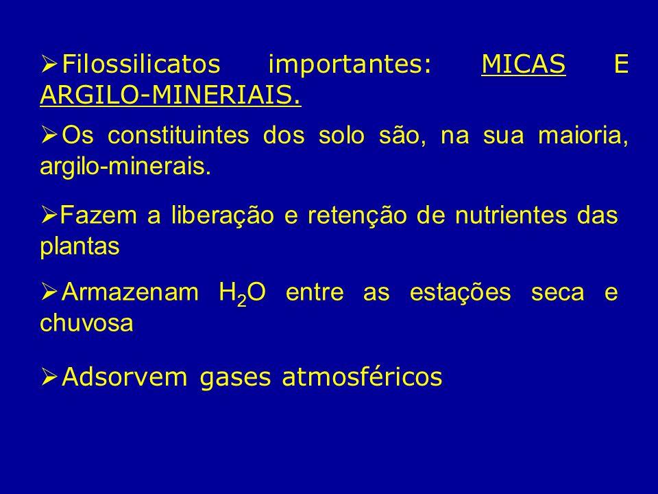 Filossilicatos importantes: MICAS E ARGILO-MINERIAIS.