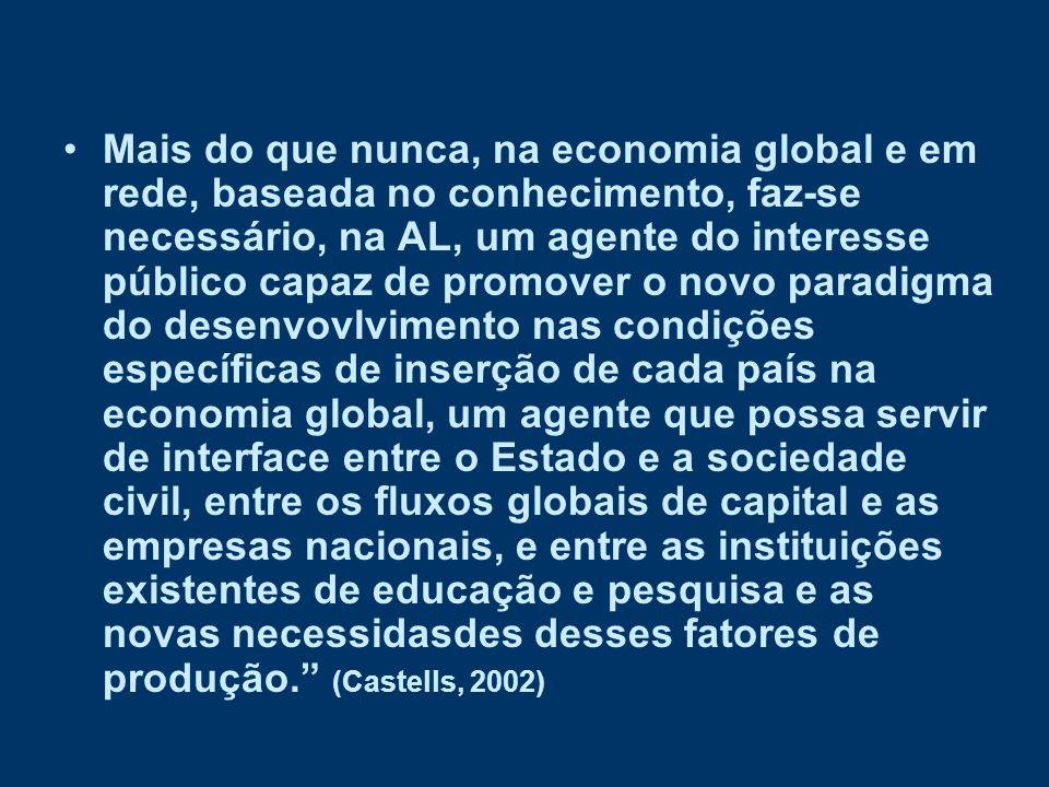 Mais do que nunca, na economia global e em rede, baseada no conhecimento, faz-se necessário, na AL, um agente do interesse público capaz de promover o novo paradigma do desenvovlvimento nas condições específicas de inserção de cada país na economia global, um agente que possa servir de interface entre o Estado e a sociedade civil, entre os fluxos globais de capital e as empresas nacionais, e entre as instituições existentes de educação e pesquisa e as novas necessidasdes desses fatores de produção. (Castells, 2002)