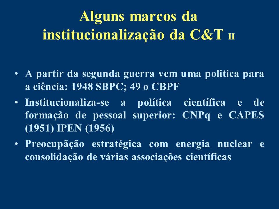 Alguns marcos da institucionalização da C&T II