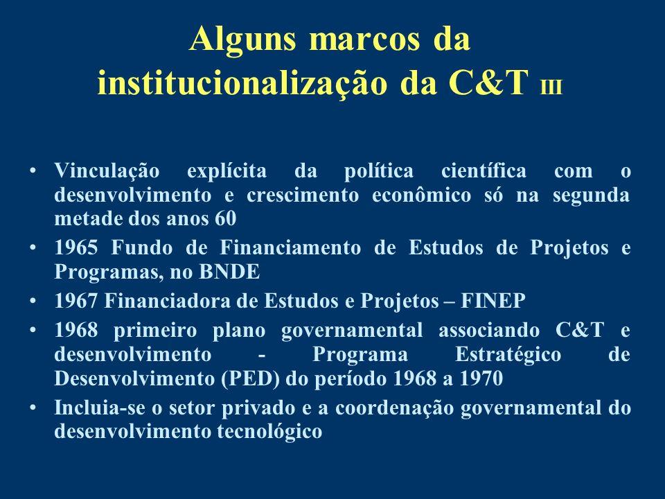 Alguns marcos da institucionalização da C&T III