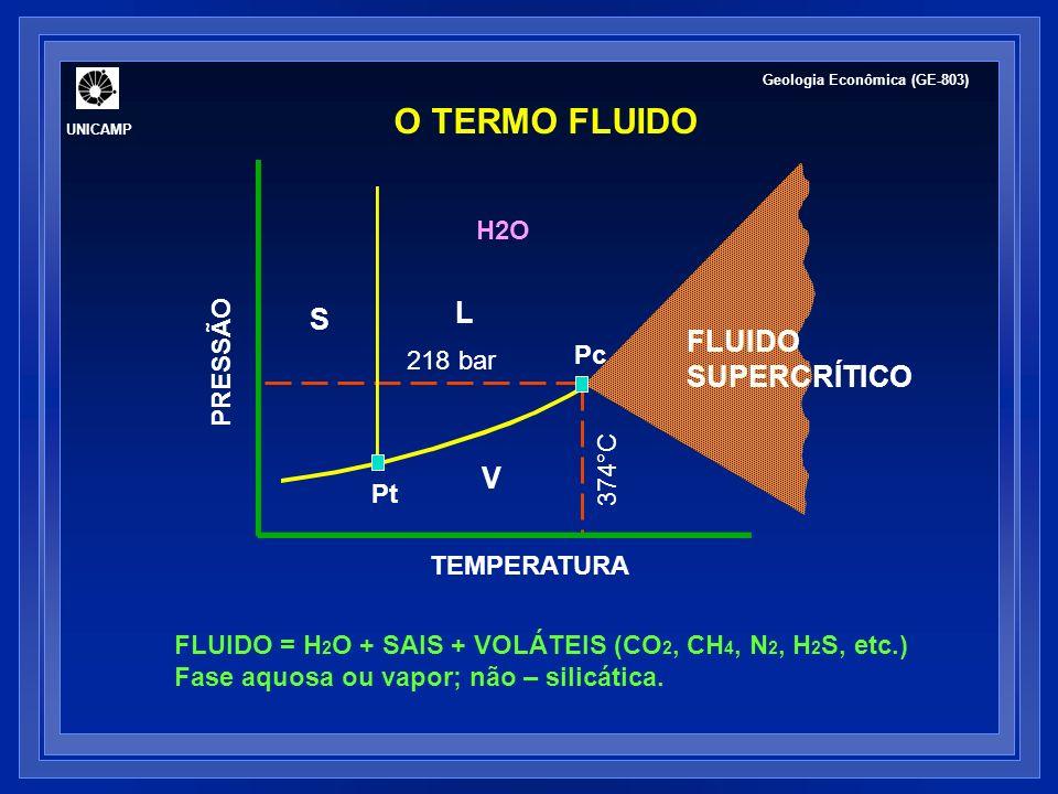 O TERMO FLUIDO L S FLUIDO SUPERCRÍTICO V H2O PRESSÃO Pc 218 bar 374°C