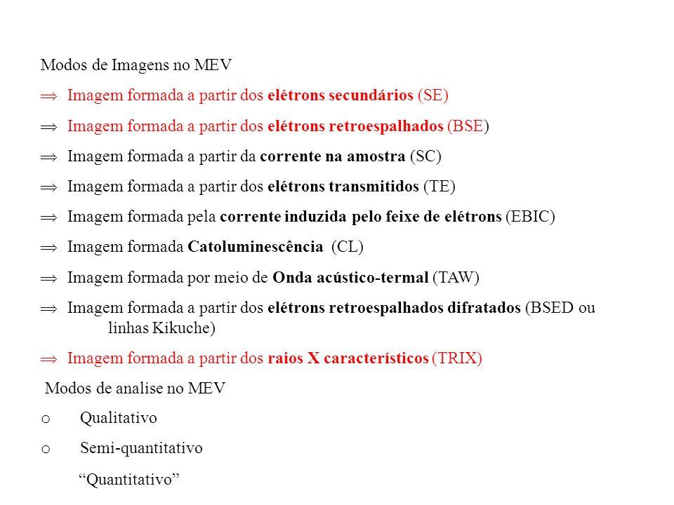 Modos de Imagens no MEV Þ Imagem formada a partir dos elétrons secundários (SE) Þ Imagem formada a partir dos elétrons retroespalhados (BSE)