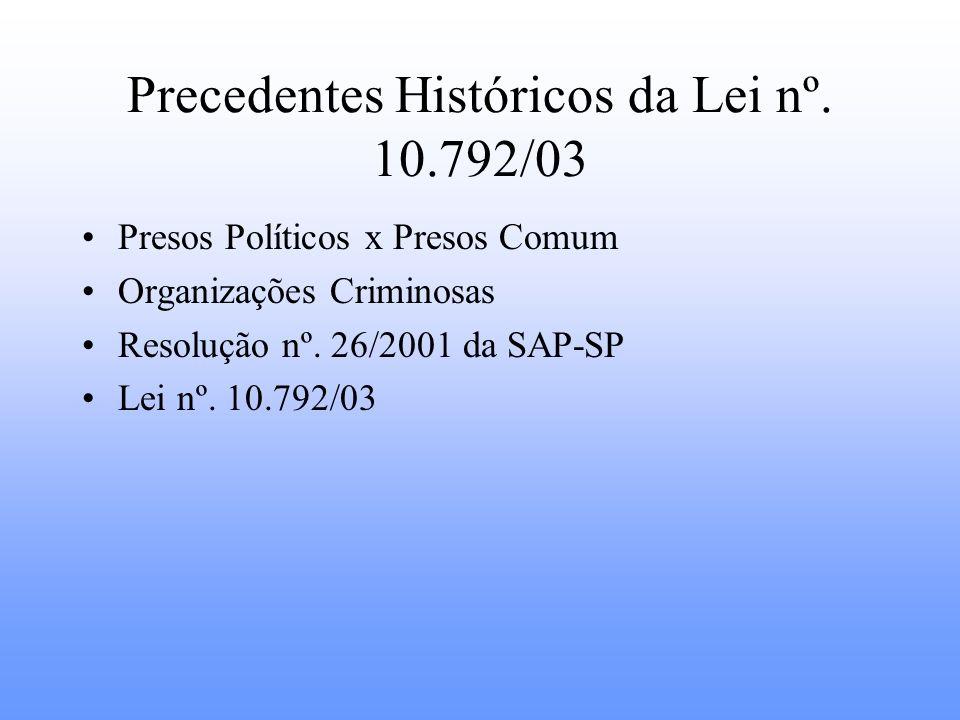 Precedentes Históricos da Lei nº. 10.792/03