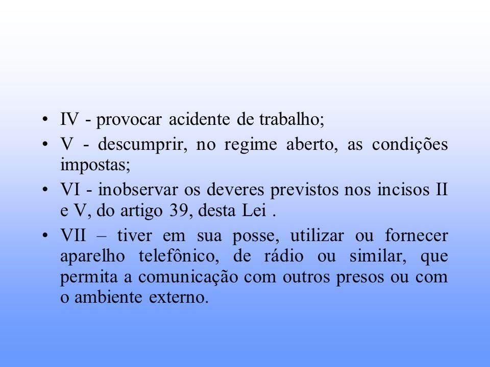 IV - provocar acidente de trabalho;