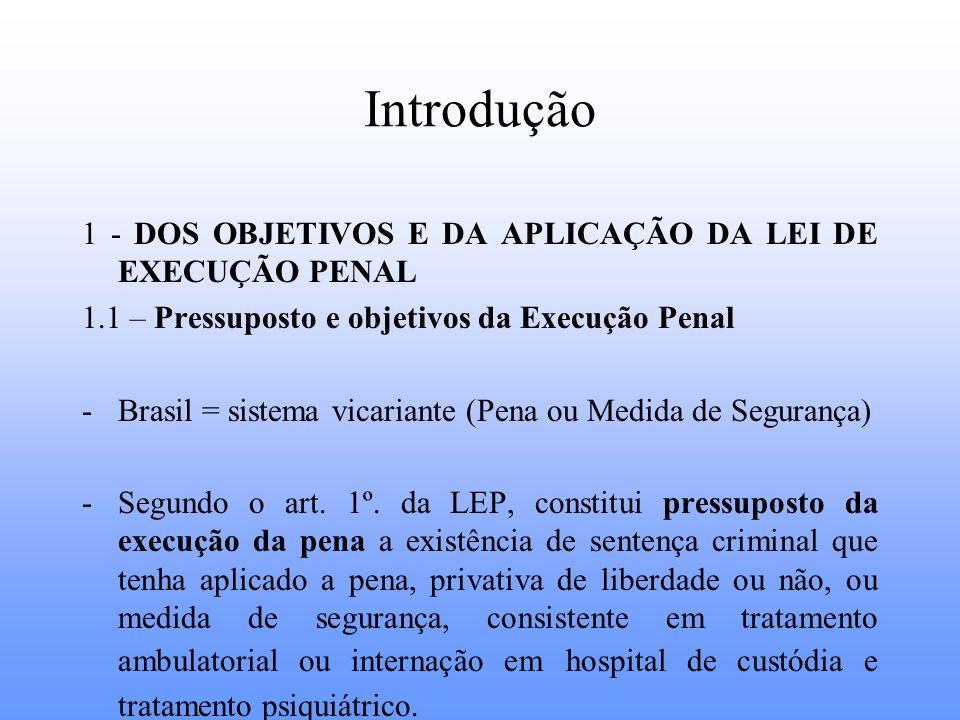 Introdução 1 - DOS OBJETIVOS E DA APLICAÇÃO DA LEI DE EXECUÇÃO PENAL