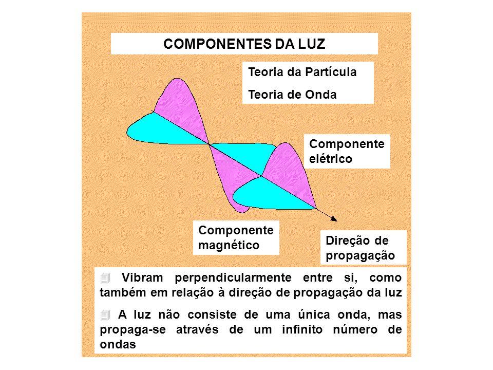 COMPONENTES DA LUZ Teoria da Partícula Teoria de Onda