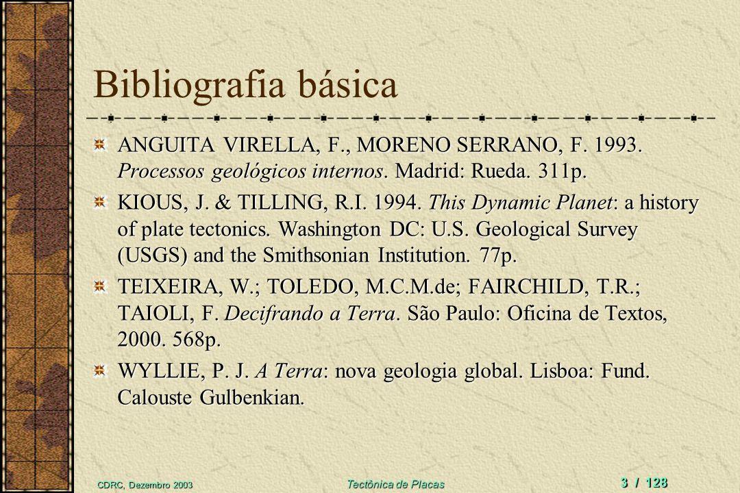 Bibliografia básica ANGUITA VIRELLA, F., MORENO SERRANO, F. 1993. Processos geológicos internos. Madrid: Rueda. 311p.