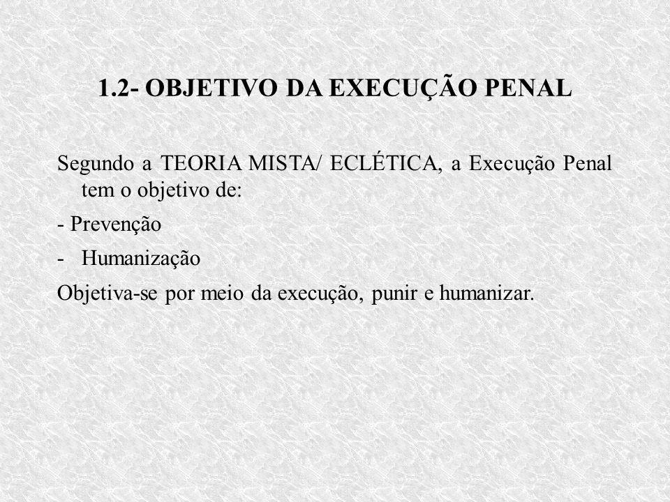 1.2- OBJETIVO DA EXECUÇÃO PENAL