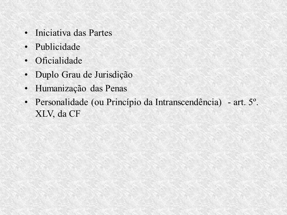 Iniciativa das Partes Publicidade. Oficialidade. Duplo Grau de Jurisdição. Humanização das Penas.