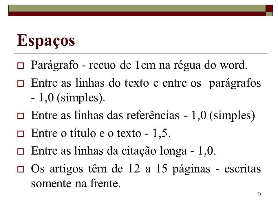 Espaços Parágrafo - recuo de 1cm na régua do word.
