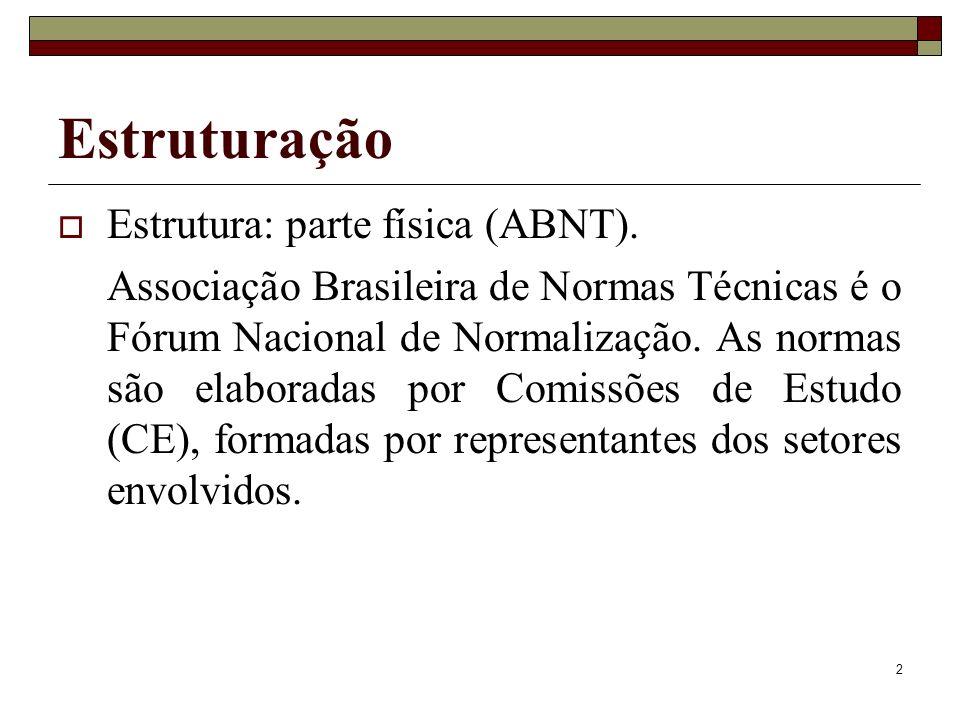 Estruturação Estrutura: parte física (ABNT).