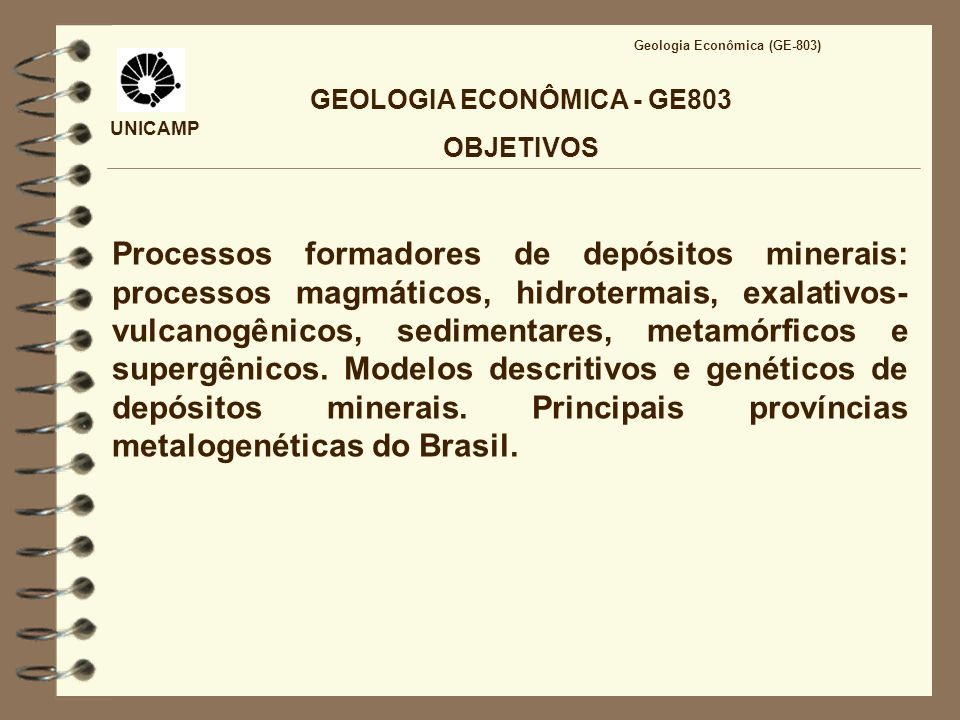 GEOLOGIA ECONÔMICA - GE803