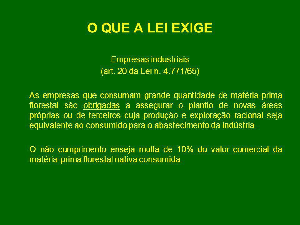 O QUE A LEI EXIGE Empresas industriais (art. 20 da Lei n. 4.771/65)