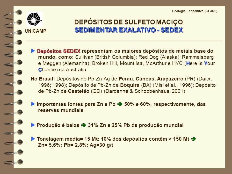 DEPÓSITOS DE SULFETO MACIÇO SEDIMENTAR EXALATIVO - SEDEX