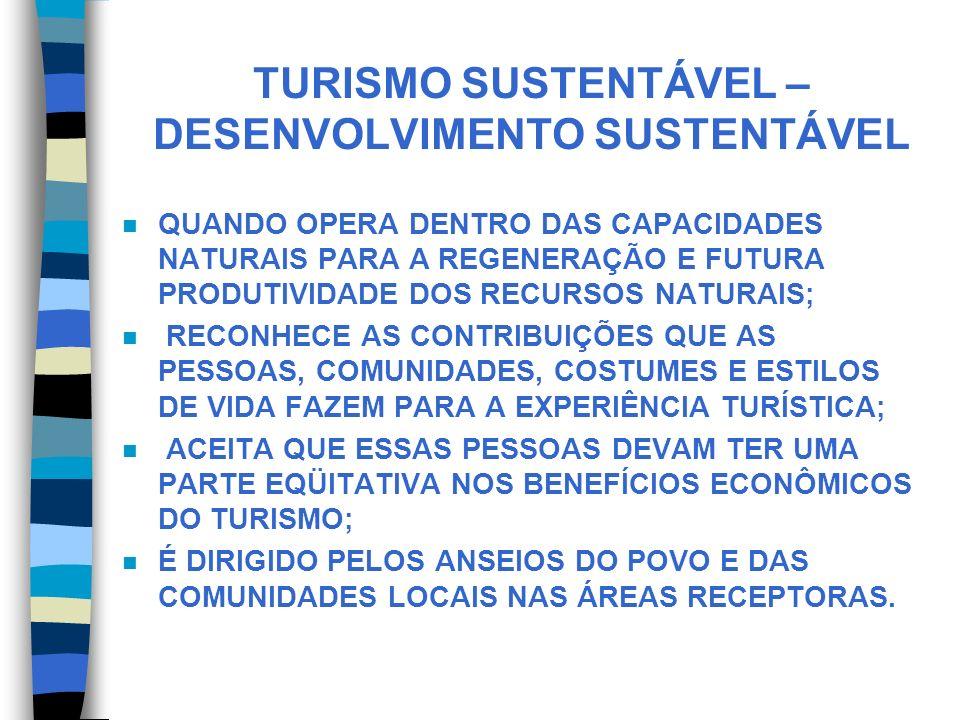 TURISMO SUSTENTÁVEL – DESENVOLVIMENTO SUSTENTÁVEL
