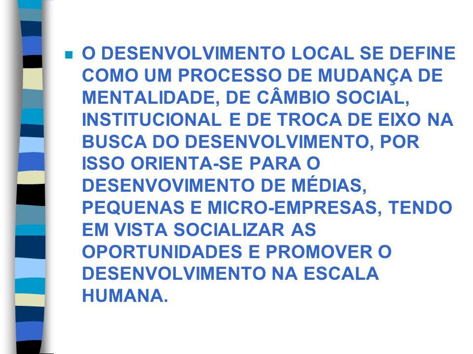 O DESENVOLVIMENTO LOCAL SE DEFINE COMO UM PROCESSO DE MUDANÇA DE MENTALIDADE, DE CÂMBIO SOCIAL, INSTITUCIONAL E DE TROCA DE EIXO NA BUSCA DO DESENVOLVIMENTO, POR ISSO ORIENTA-SE PARA O DESENVOVIMENTO DE MÉDIAS, PEQUENAS E MICRO-EMPRESAS, TENDO EM VISTA SOCIALIZAR AS OPORTUNIDADES E PROMOVER O DESENVOLVIMENTO NA ESCALA HUMANA.