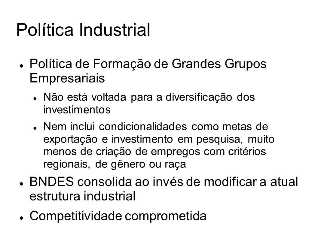 Política Industrial Política de Formação de Grandes Grupos Empresariais. Não está voltada para a diversificação dos investimentos.