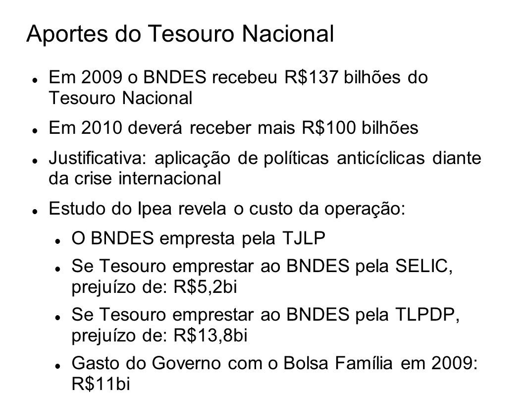 Aportes do Tesouro Nacional