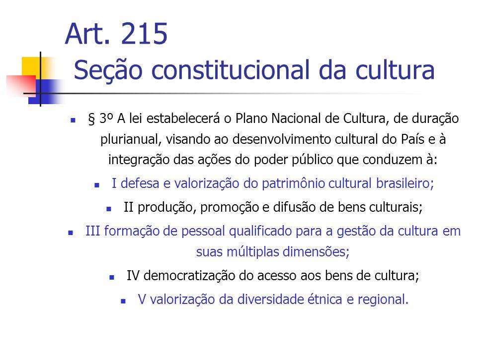 Art. 215 Seção constitucional da cultura