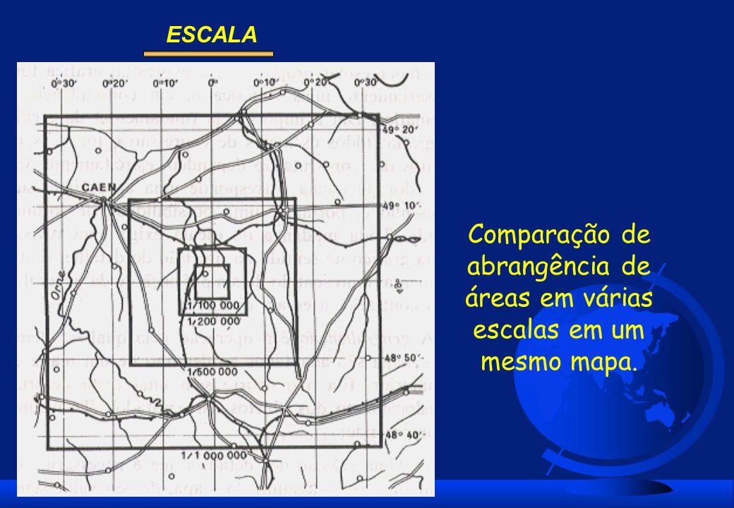 Comparação de abrangência de áreas em várias escalas em um mesmo mapa.