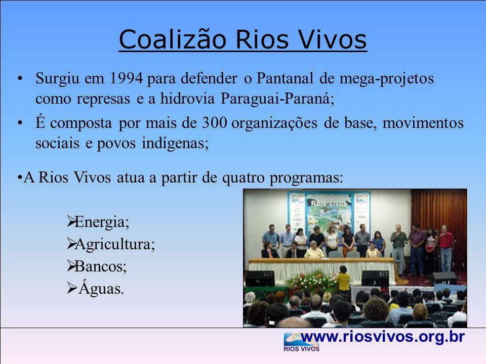 Coalizão Rios VivosSurgiu em 1994 para defender o Pantanal de mega-projetos como represas e a hidrovia Paraguai-Paraná;