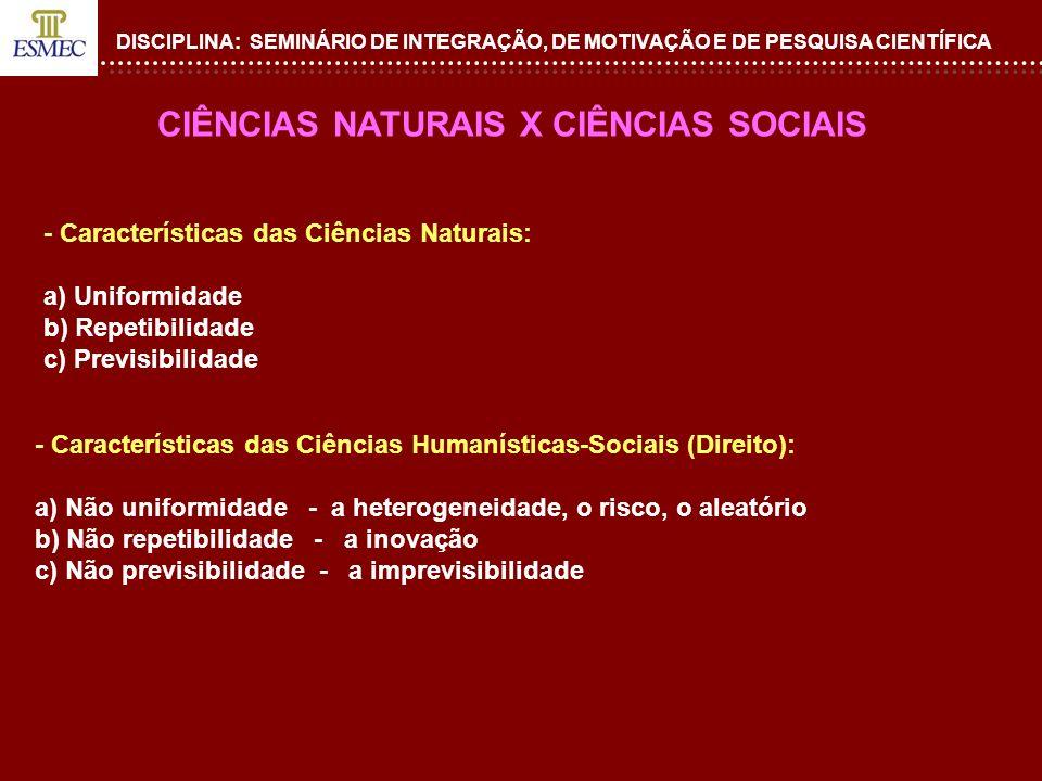 CIÊNCIAS NATURAIS X CIÊNCIAS SOCIAIS