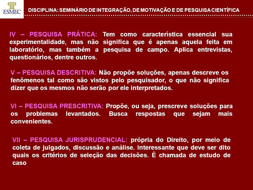 DISCIPLINA: SEMINÁRIO DE INTEGRAÇÃO, DE MOTIVAÇÃO E DE PESQUISA CIENTÍFICA