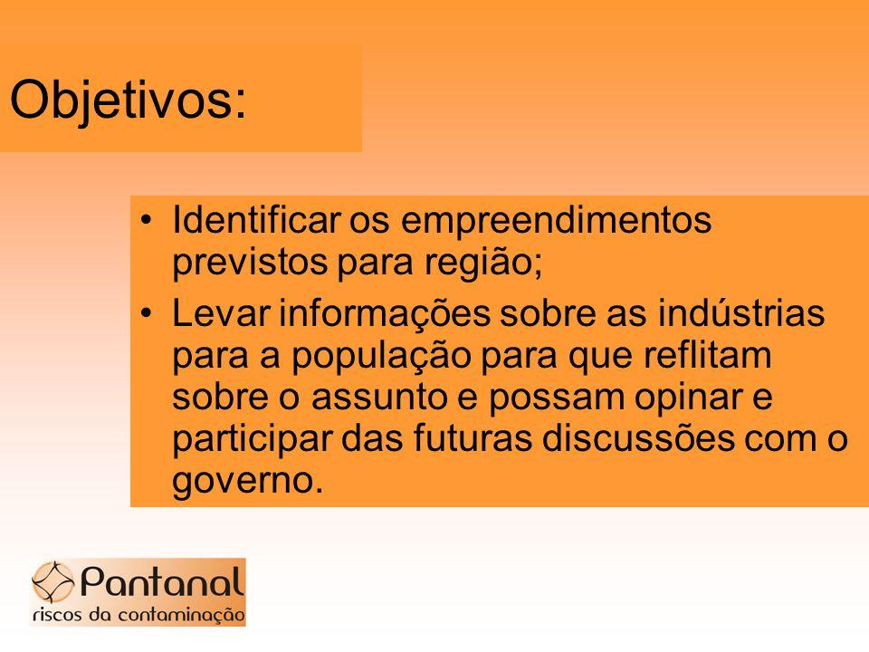 Objetivos: Identificar os empreendimentos previstos para região;