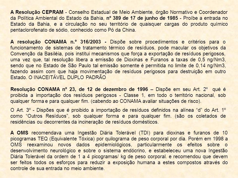A Resolução CEPRAM - Conselho Estadual de Meio Ambiente, órgão Normativo e Coordenador da Política Ambiental do Estado da Bahia, nº 389 de 17 de junho de 1985 - Proíbe a entrada no Estado da Bahia, e a circulação no seu território de quaisquer cargas do produto químico pentaclorofenato de sódio, conhecido como Pó da China.
