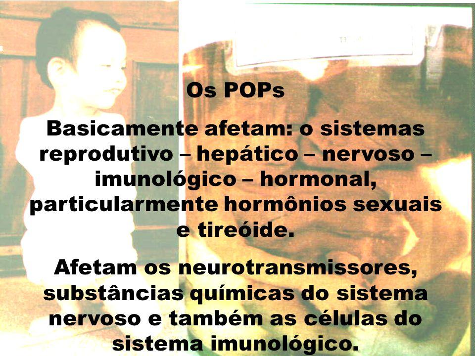 Os POPs Basicamente afetam: o sistemas reprodutivo – hepático – nervoso – imunológico – hormonal, particularmente hormônios sexuais e tireóide.