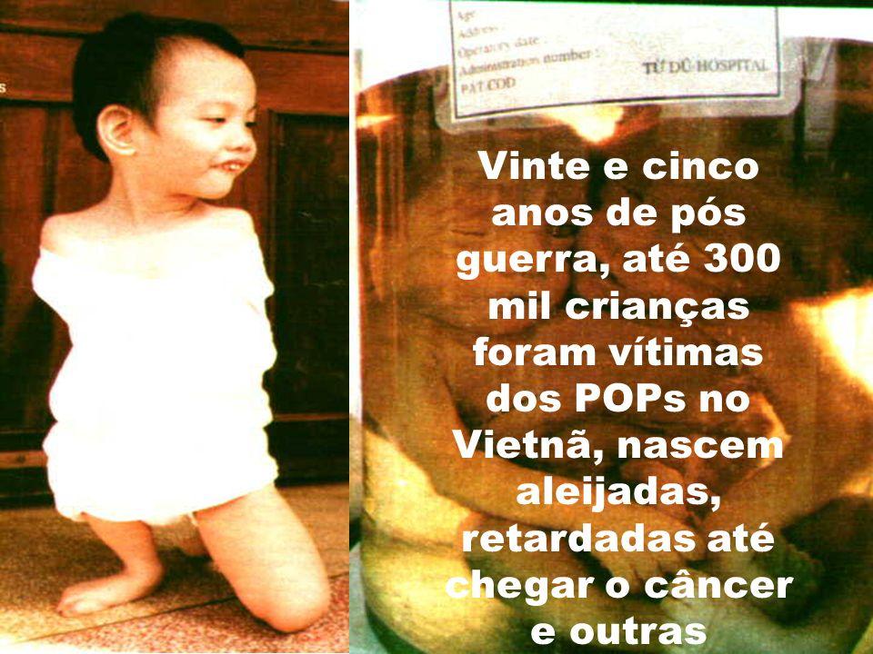 Vinte e cinco anos de pós guerra, até 300 mil crianças foram vítimas dos POPs no Vietnã, nascem aleijadas, retardadas até chegar o câncer e outras doenças