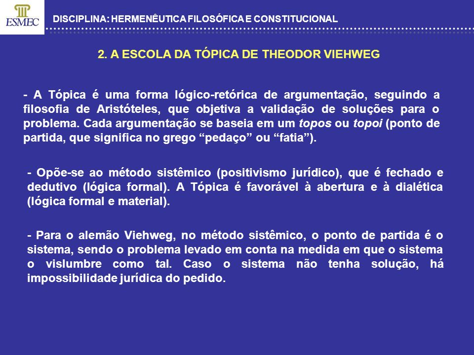 2. A ESCOLA DA TÓPICA DE THEODOR VIEHWEG