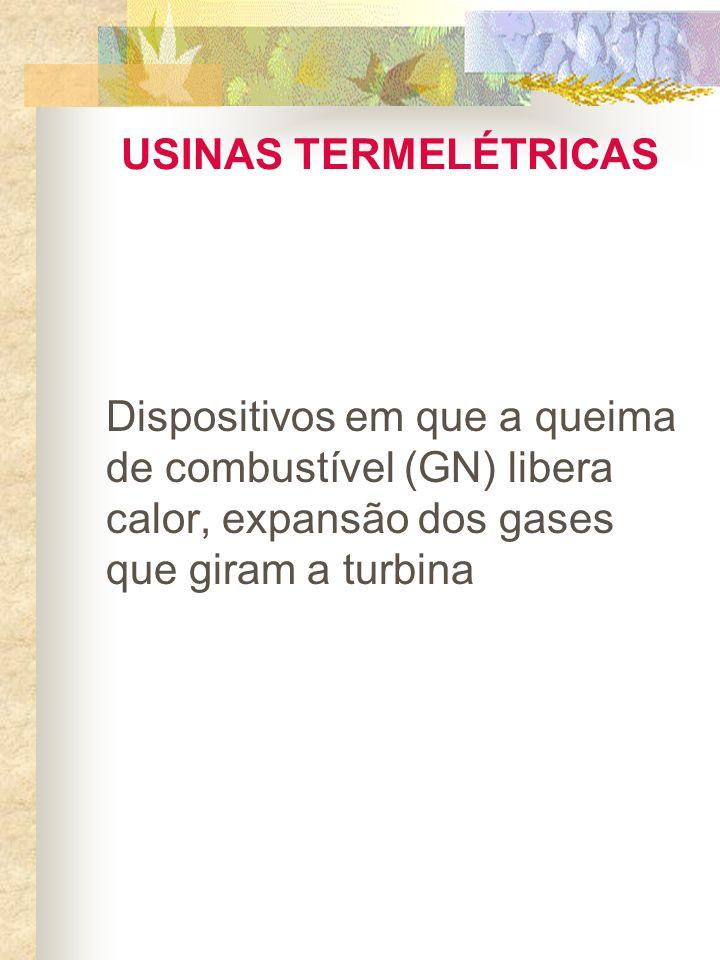 USINAS TERMELÉTRICAS Dispositivos em que a queima de combustível (GN) libera calor, expansão dos gases que giram a turbina.